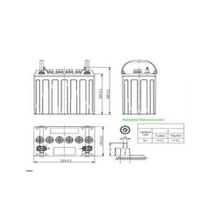 Batterie plomb étanche gélifiée plaques Tubulaire ACEDIS  TMSGEL12-135t 12V 135Ah  VRLA  - 2