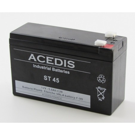 Batterie plomb étanche AGM ACEDIS ST45 12V 5Ah T2 (2000)